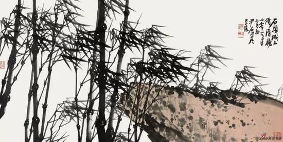 国画《石头城上倚清秋》 68cm×137cm