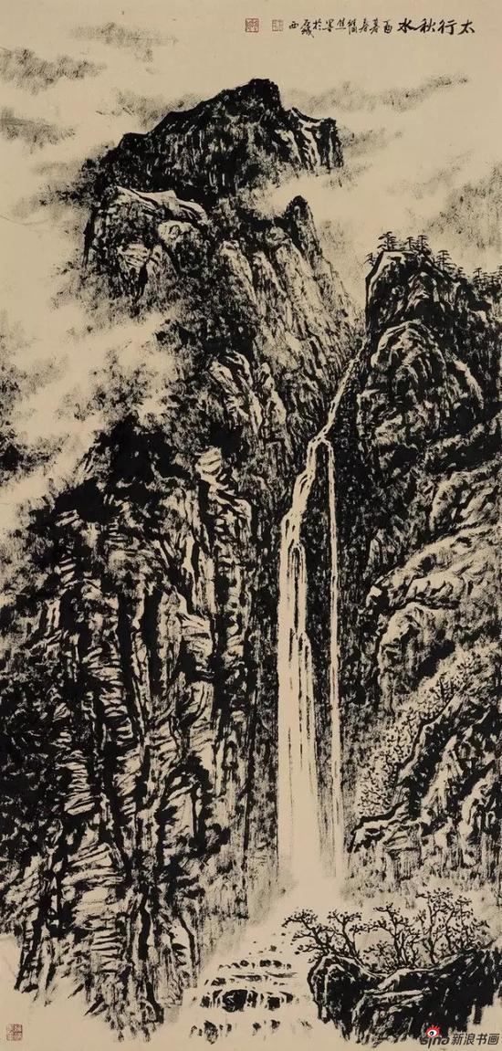 国画《太行秋水》 137cm×68cm
