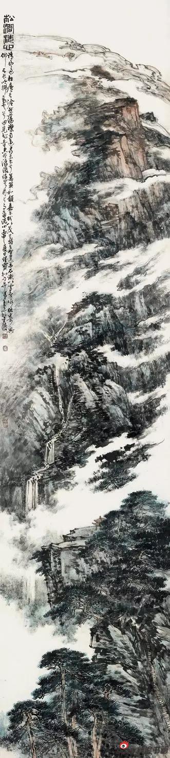 国画《松间洗心》 240cm×53cm