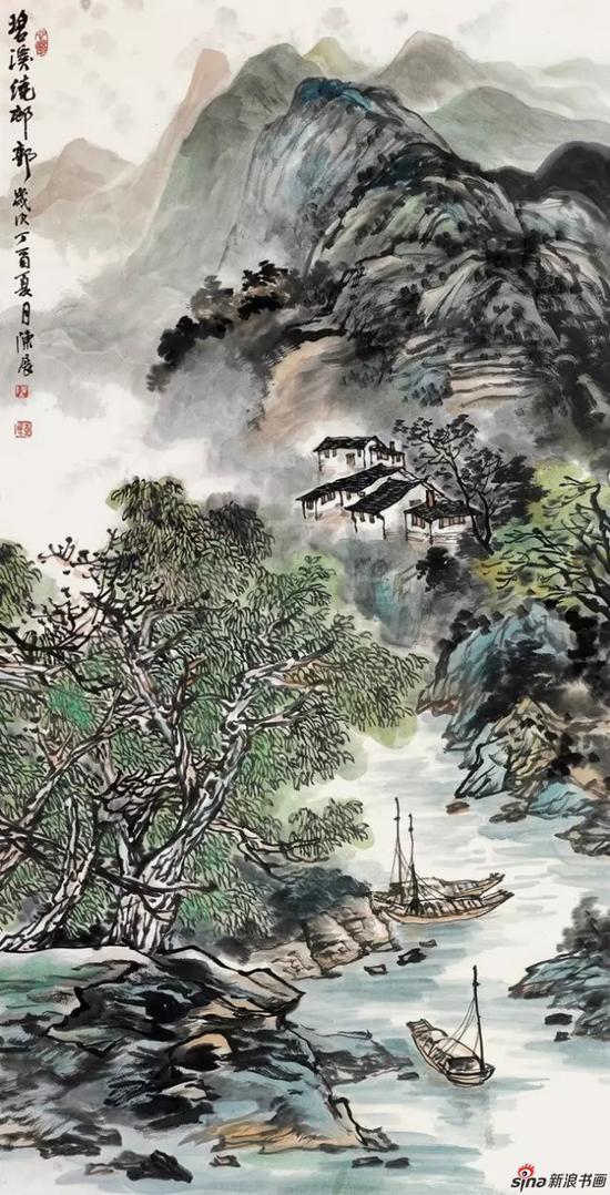 国画 《碧溪绕村郭》 137cm×68cm