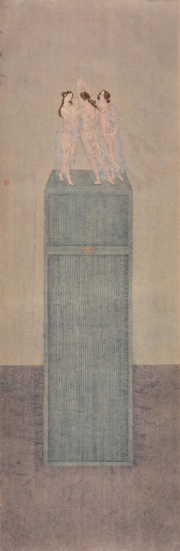 杜亚璇 《触·春之一》 国画纸本设色 45.6x138.8cm 2015年