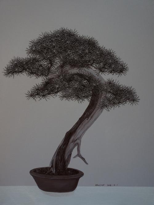 赵津毅 《中国盆栽——迎客松 NO.18》布面综合材料 80x60cm 2016年