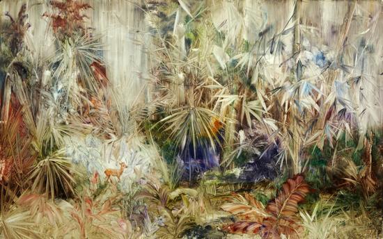 刘伟涛 《后花园No.28》纸板油画 100X160cm 2016年