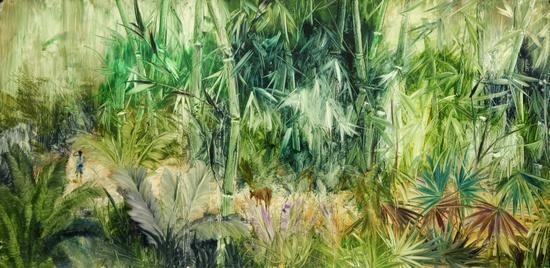 刘伟涛 《后花园NO.27》纸板油画 80X160cm 2016年