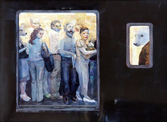 李蓓蕾《2号线》水彩 150-120cm 2011年