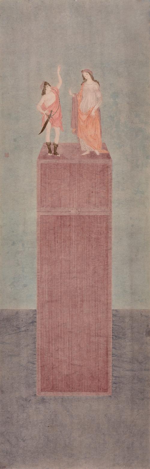 杜亚璇 《触·春之二》 国画纸本设色 44.3x138.8cm 2015年
