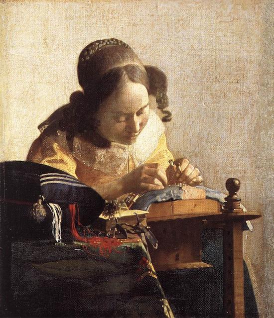 《纺织女工》,维米尔