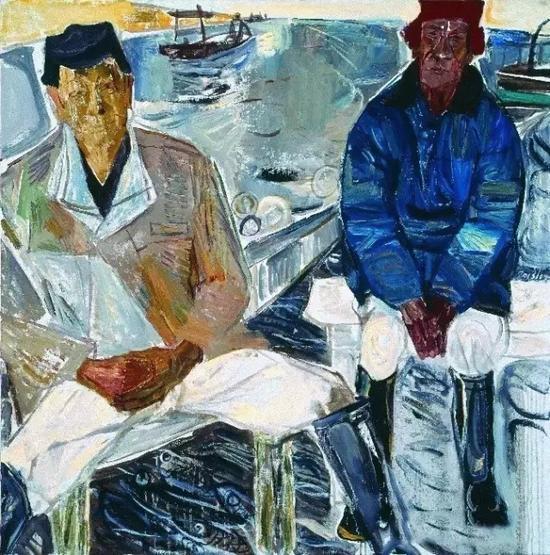 湛江江洪的两位老渔夫 100x100cm 布面油画 2013