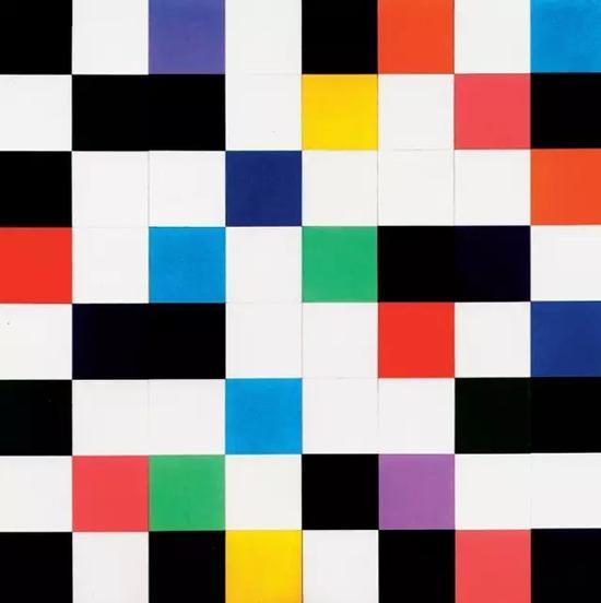 《一大面墙上的颜色》,1951年,240*240cm,64节连接面板,布面油画
