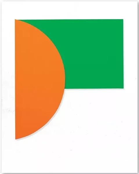 《淡橙色与绿》(Orange Relief with Green),1991年,237.5*215.3*6.7cm,2节连接木板,布面油画