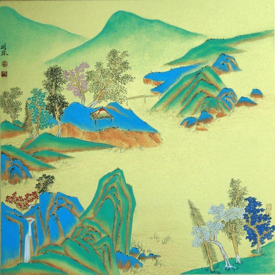 黄明珠 水墨卡纸《彩墨山水》尺寸50×50cm