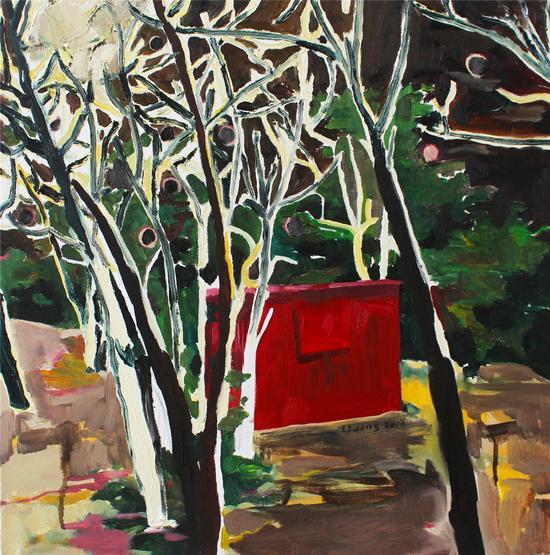翡翠岛的红房子 50cmx50cm 布面油画 2017