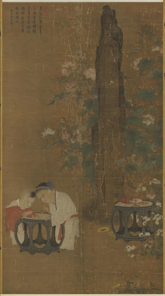 宋·苏汉臣《秋庭戏婴图》轴