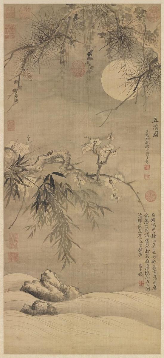 清・恽寿平《五清图》轴