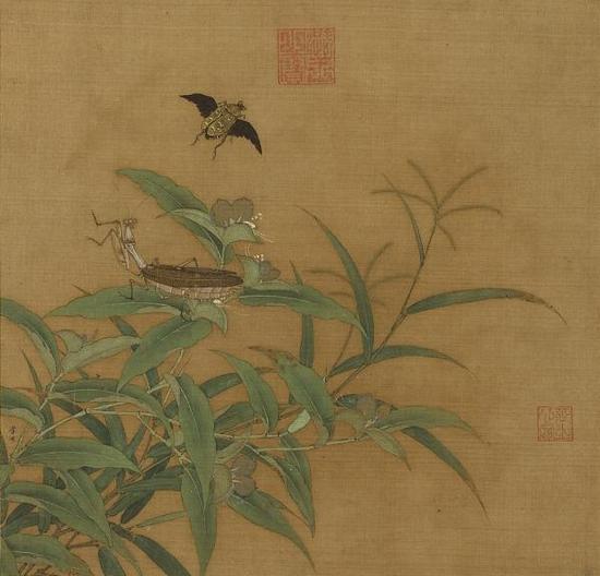 宋·李迪《秋卉草虫》册