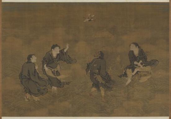 明·商喜《四仙拱寿图》轴