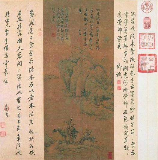 赵孟頫《洞庭东山图》,绢本设色,60.8x26.6。上海博物馆藏