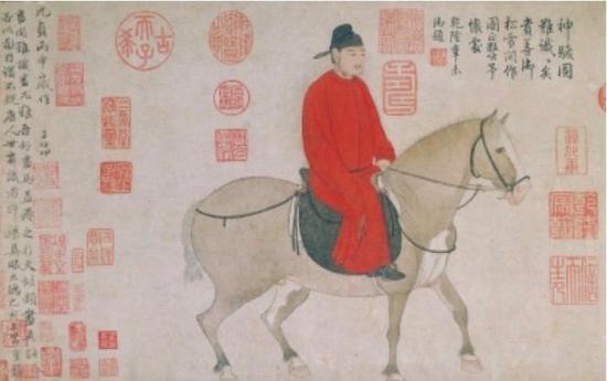 赵孟頫《人骑图》,纸本设色,30x52。故宫博物院藏