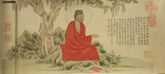 清乾隆帝弘历仿赵孟頫《红衣罗汉图》。故宫博物院藏