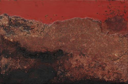 《铸景》 木板大漆、泥土 122X80cm 2017