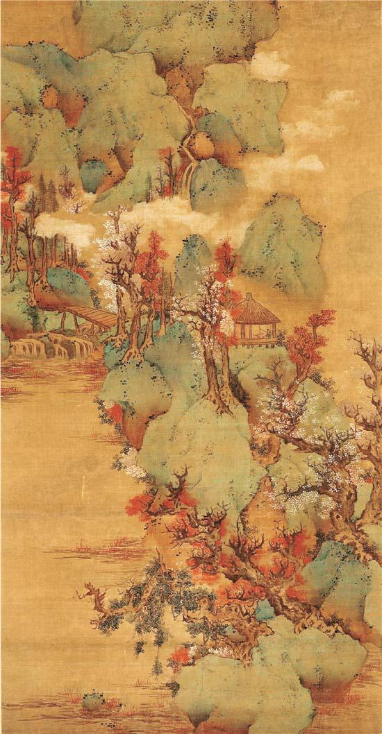 明 蓝瑛 青山红树图轴(无锡博物院藏)