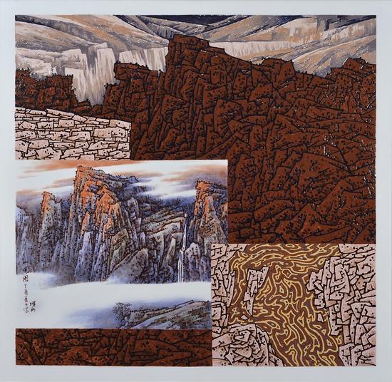 龚循明《山观图》120x120cm 陶瓷釉上粉彩