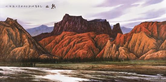 龚循明《热土》200x100cm 陶瓷釉上粉彩