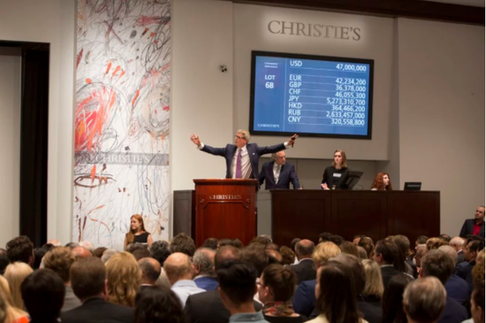 5月的佳士得(纽约)战后及当代艺术夜场拍卖现场。图片:Christie's