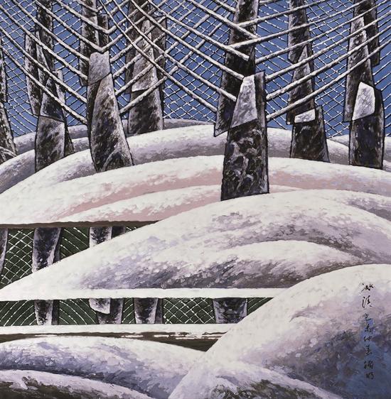 龚循明《四季·冬》100x100cm 陶瓷釉上粉彩