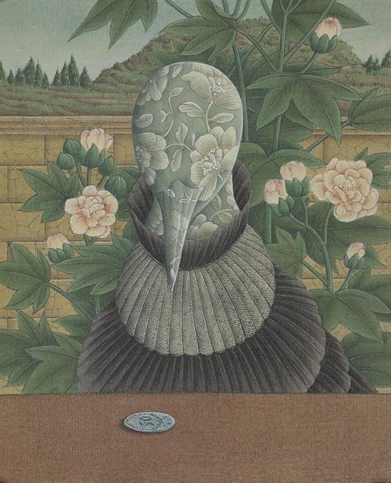 张庆 玄思之一  26cm x 19cm  绢本设色  2015年