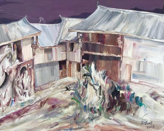 老院子,55X45CM,布面丙烯油画,2016年,王朝刚