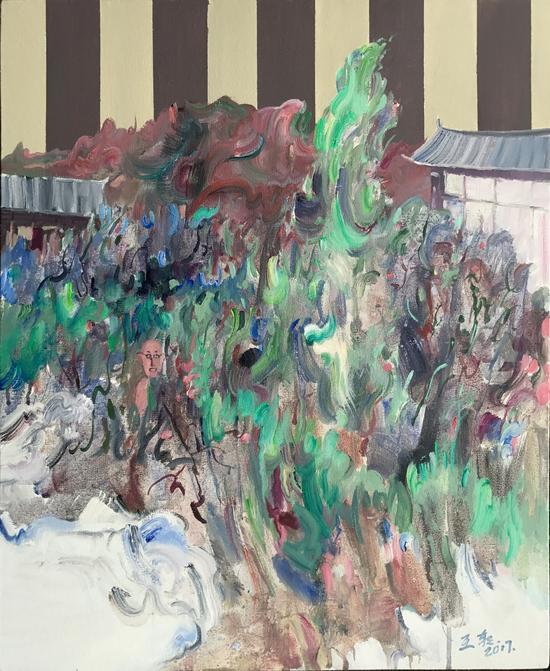后院的草林55X45CM,布面丙烯油画,2016年,王朝刚
