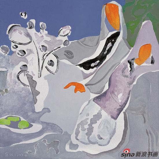 《两个人》 100cmx100cm 布面油画 2007,2012(伦敦)中国油画艺术展作品