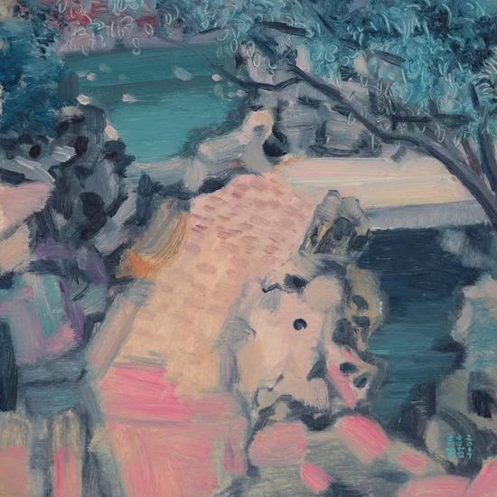 《东西涧》布面油画 30cmX30cm  2017