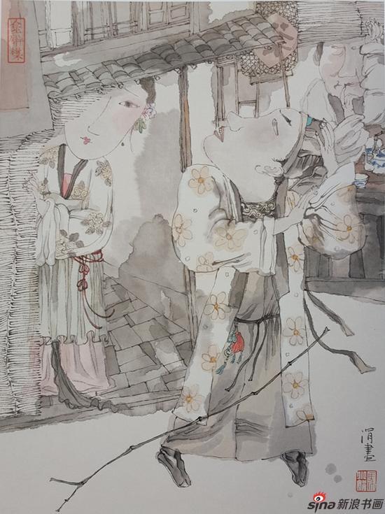 马小娟作品-红楼梦金陵十二钗 惜春作画 90x48cm 2017年