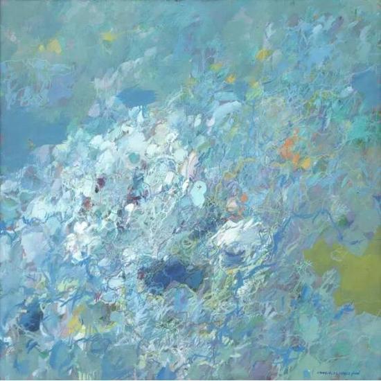 王远《天花》布上油画