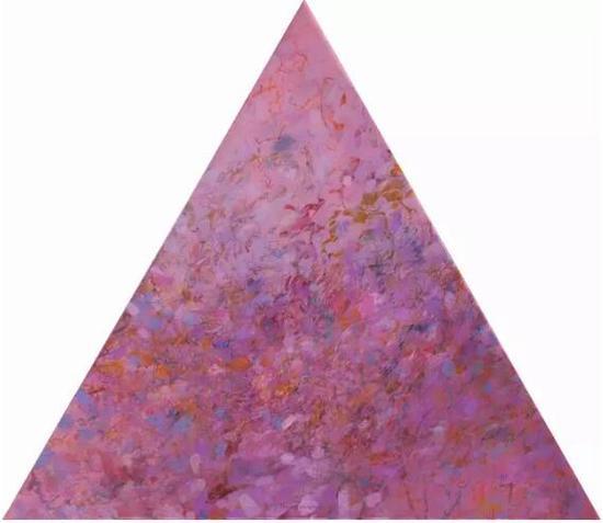 王远《万山红》布上油画 等边三角形