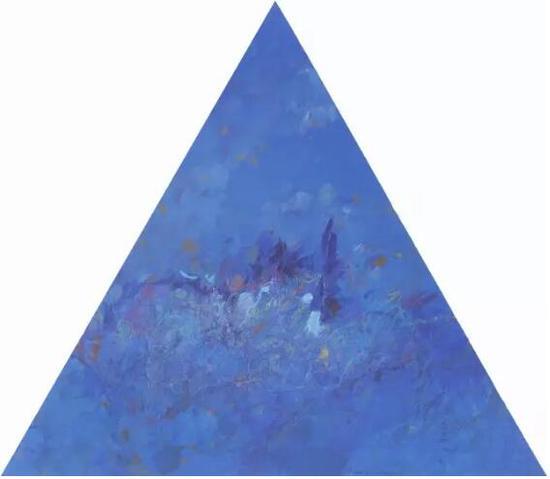 王远《罩》布上油画 等边三角形 上海美术馆收藏