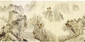 台北故宫博物院展示巨幅书画