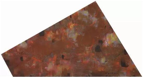 王远《万牲园》板上油画 不规则形