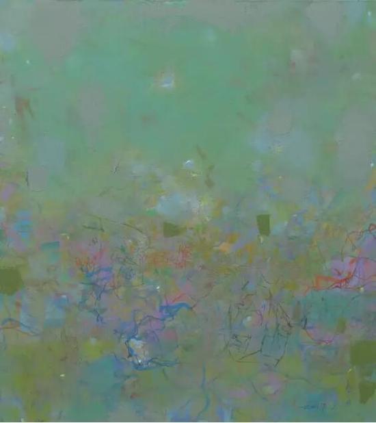 王远《绿螺》布上油画
