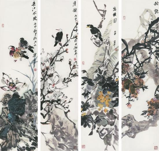 徐晋平《花鸟四条屏》