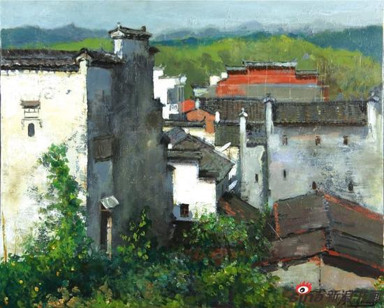 《白墙林立的村》2011年50×60cm