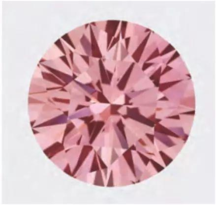 图3  一颗11.08 ct Fancy Vivid的粉红钻石,GIA检验表明其经过多步骤处理。  《GEMS & GEMOLOGY》2012 FALL。