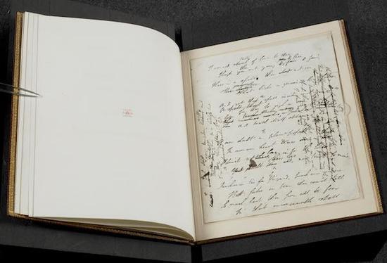 拜伦勋爵的诗歌《爱情与黄金》手写稿