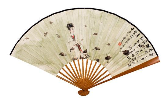 傅抱石 湘夫人  设色纸本 成扇  13.5×38cm