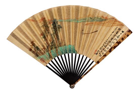 张大千 碧湖泛舟、书法  设色金笺 成扇  1937年作  18.5×50cm