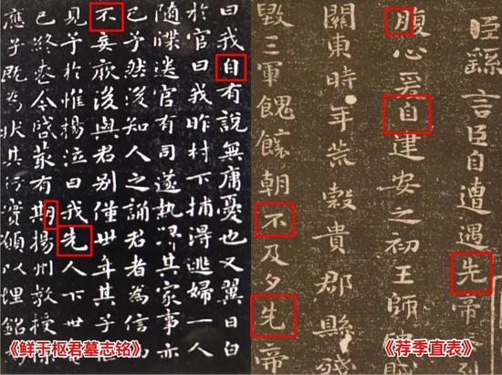 图5 赵孟頫《鲜于枢君墓志铭》和钟繇《荐季直表》对比图