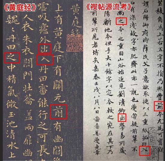 图6 赵孟頫《禊帖源流考》和王羲之《黄庭经》对比图
