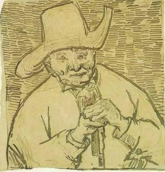 《拄着拐杖的老农》 梵高